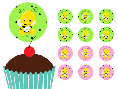 Bee Themed Cupcake Toppers Printable, bumble, Honey, Download, Cupcake, Baby Shower Toppers, Birthday Toppers, 2 inch Circle Toppers, Labels
