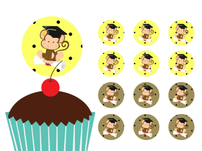 Monkey, School Gradution Cupcake Toppers Printable, Download, Cupcake, Baby Shower Toppers, Birthday Toppers, 2 inch Circle Toppers, Labels