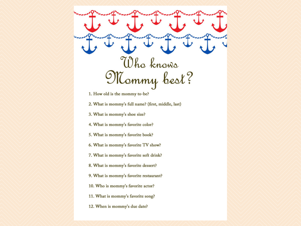 who knows mommy best nautical beach baby shower games printables