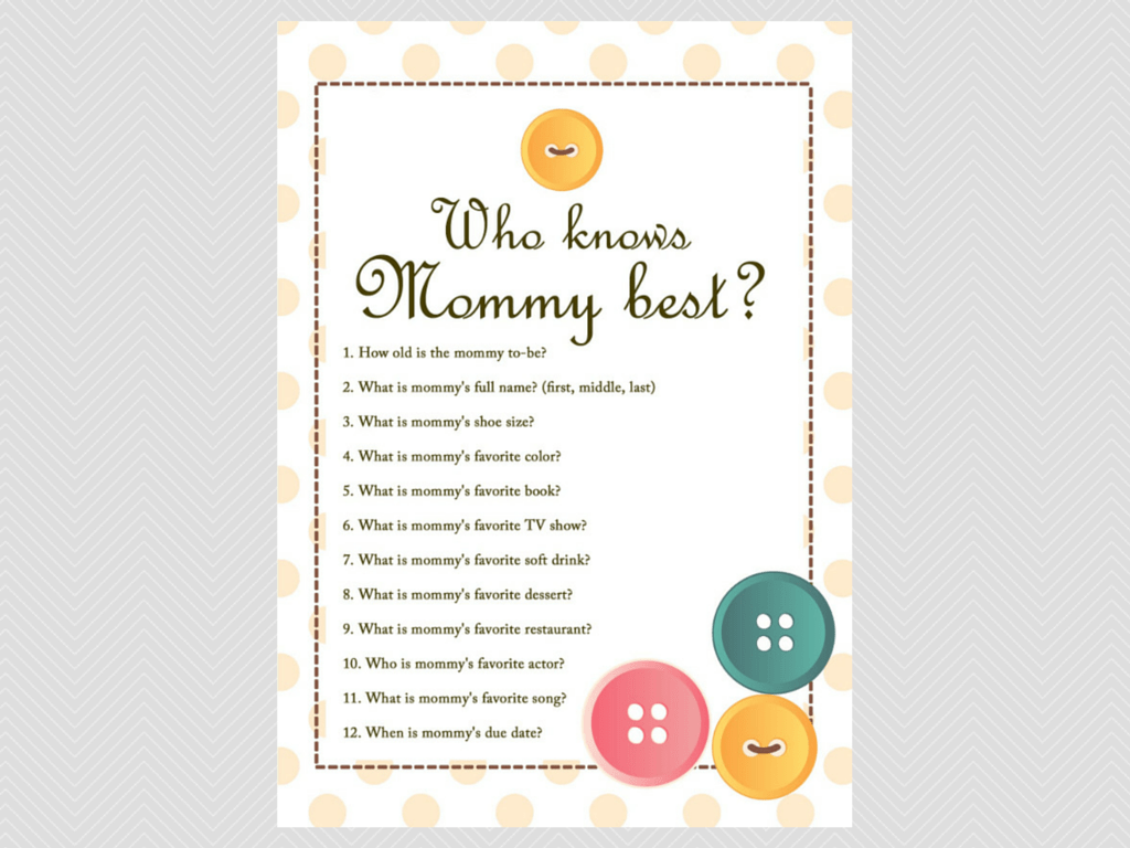 who knows mommy best cute as a button baby shower them games