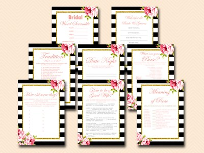 BLACK AND WHITE FLORAL BRIDAL SHOWER GAME SET