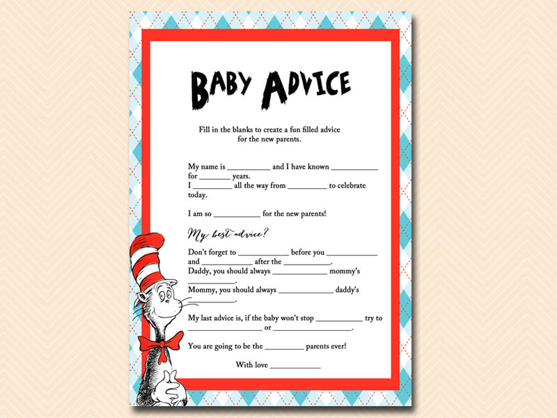 baby advice mad libs dr seuss baby shower cat in the hat baby shower
