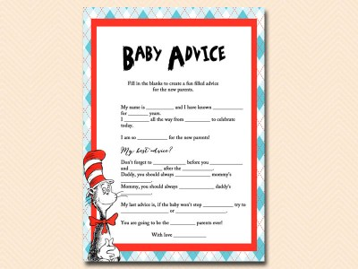 baby-advice-mad-libs dr seuss baby shower, cat in the hat baby shower, thing 1 thing 2 baby shower, de seuss inspired