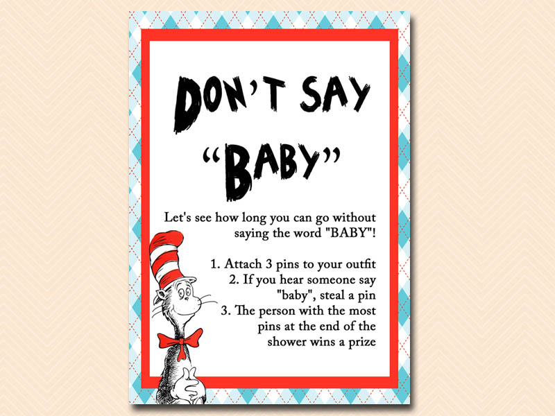 Great Dont Say Baby Dr Seuss Baby Shower, Cat In The Hat Baby Shower