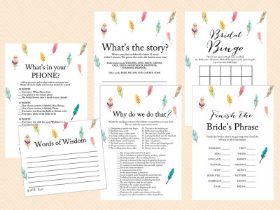 feather bridal shower games, printable games, instant download bridal shower games, nature, birds