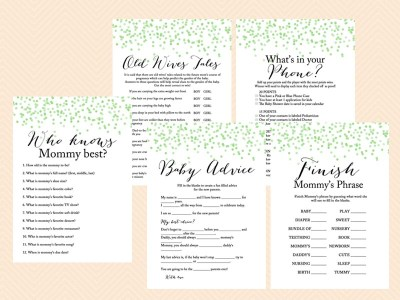 Green Confetti Modern Baby Shower Games, Chic font, Gender Neutral, Baby Boy, Green confetti Baby Shower, gender neutral baby shower TLC53