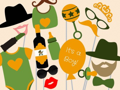 photo booth camo baby shower colors