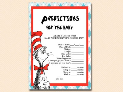 predictions-for-baby dr seuss baby shower, cat in the hat baby shower, thing 1 thing 2 baby shower, de seuss inspired