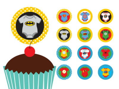 superhero baby shower cupcake toppers and labels