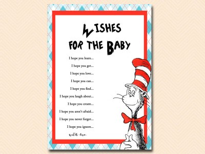 wishes-for-the-baby dr seuss baby shower, cat in the hat baby shower, thing 1 thing 2 baby shower, de seuss inspired
