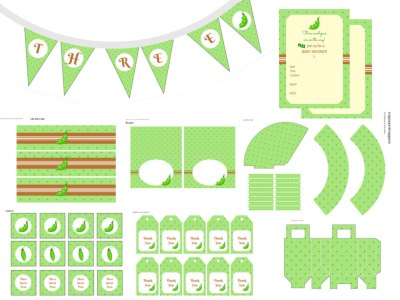 Free Three peas in pod, Triplet Baby shower printable, triplet baby shower package, three peas in a pod baby shower, triplet babies, sweet peas, triplets