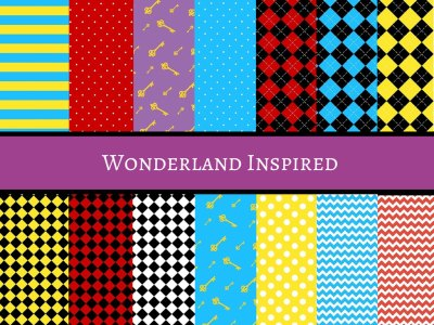 alice in wonderland, Tea Party Wonderland Digital Paper, Inspired Digital Paper, Scrapbooking Papers, Party Printable Papers, Cardmaking