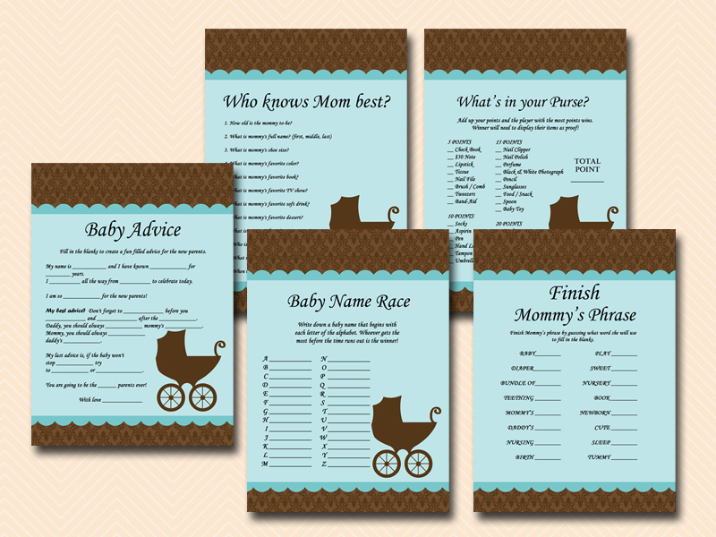 Boy Baby Shower Game Printables Vintage Carriage Tlc74