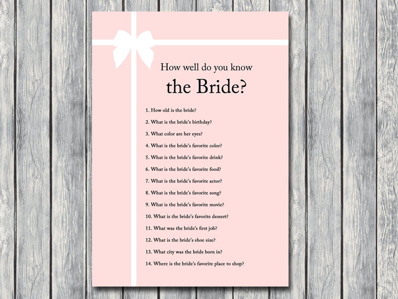 It is a photo of Fabulous How Well Do You Know the Bride Free Printable
