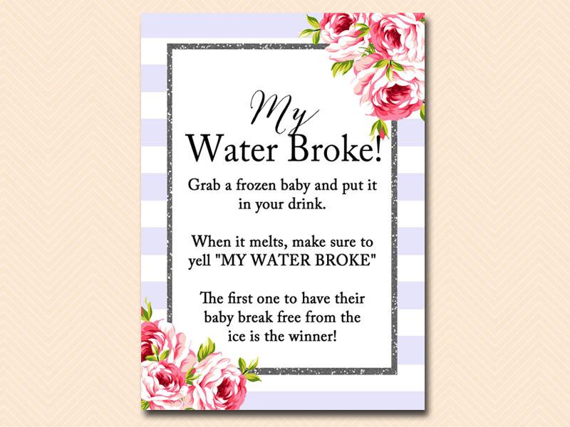 ... Lavender Baby Shower Games Printables, My Water Broke ...