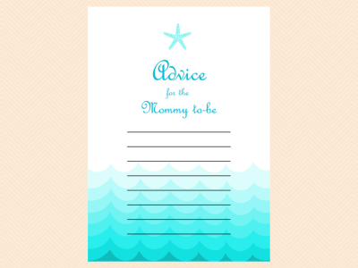 advice mommy to be, Beach, Sea Waves, Nautical Baby Shower Games