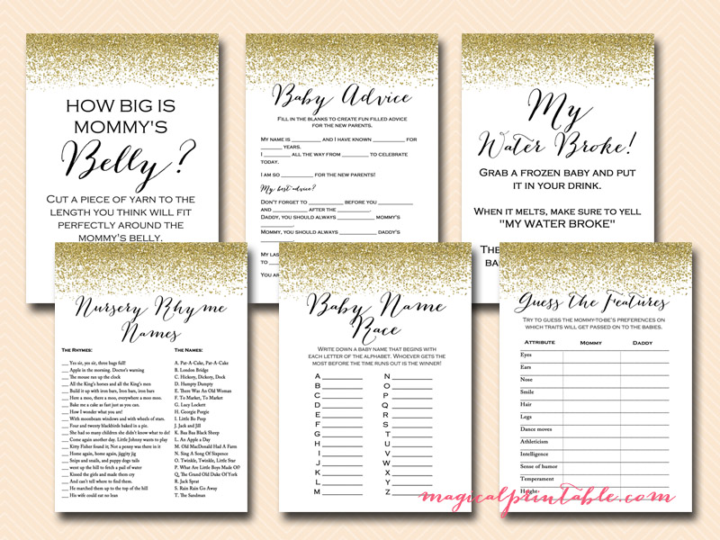 gold glitter baby shower game pack printable baby shower games