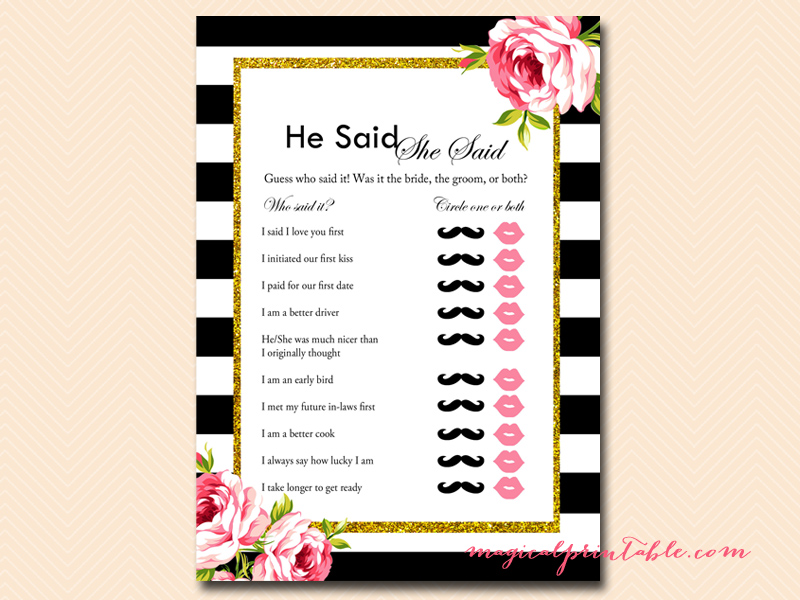 Black and white floral bridal shower games magical printable for He said she said bridal shower game template