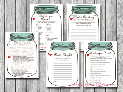 mason jars bridal shower games, rustic bridal shower game package, instant download, bs94, teal