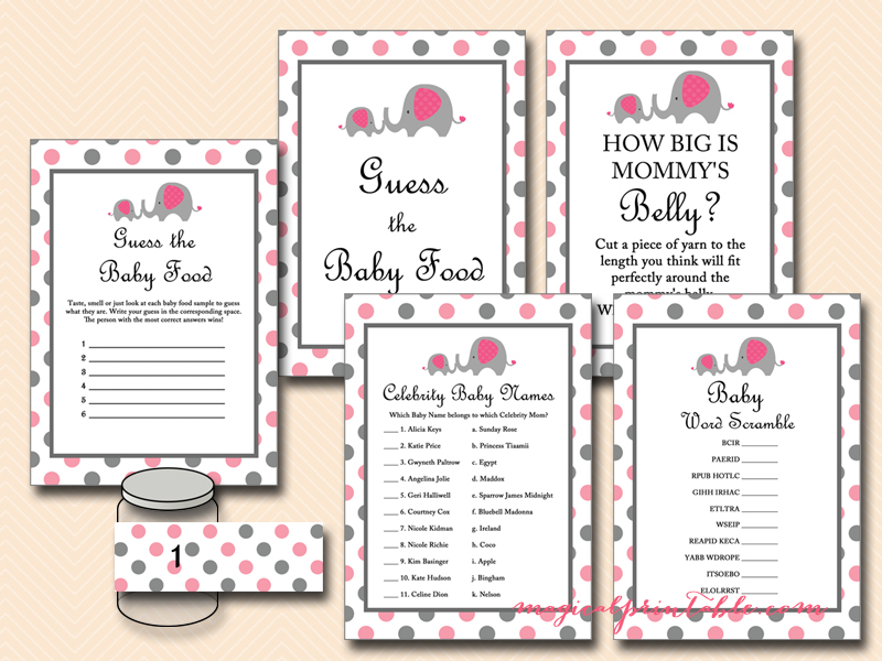 Pink Elephant Baby Shower Game Pack Magical Printable