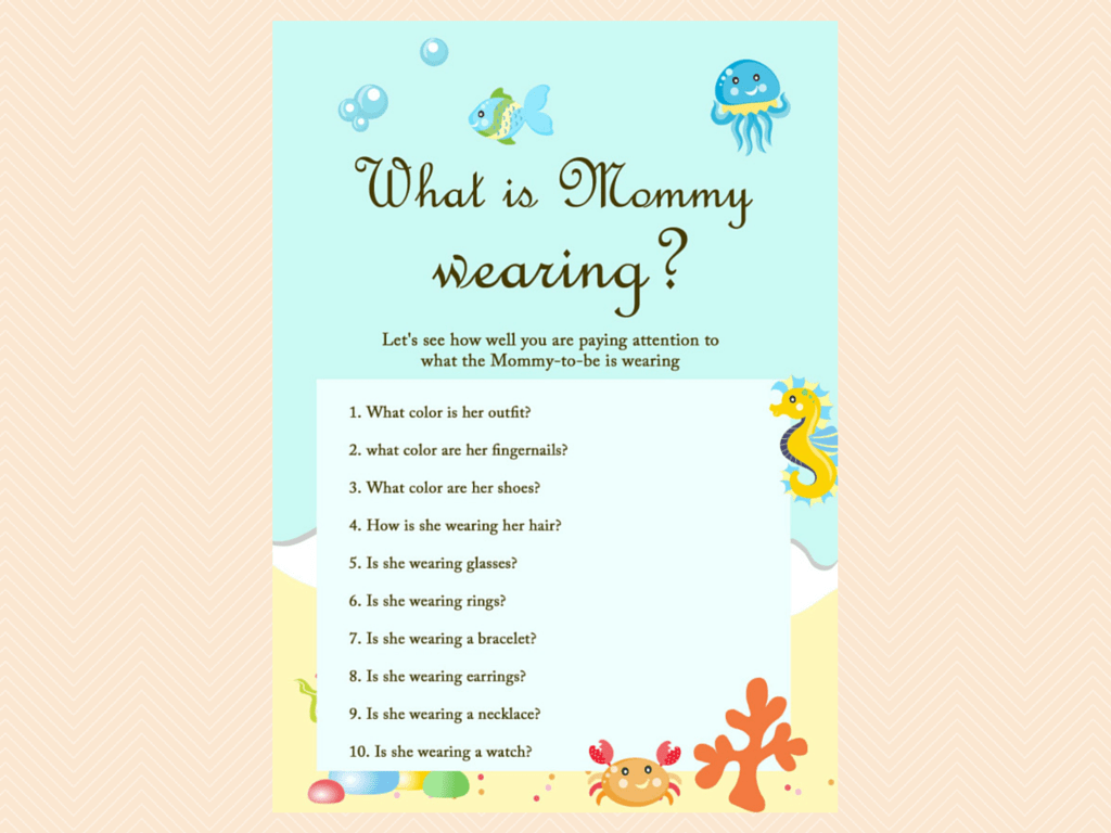 mommy wearing beach sea under the sea baby shower game printables