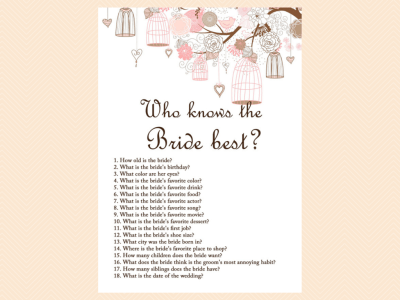 who knows the bride best, Pink Bridal Shower Game Printables Pack, Bachelorette Games, Birdcage,