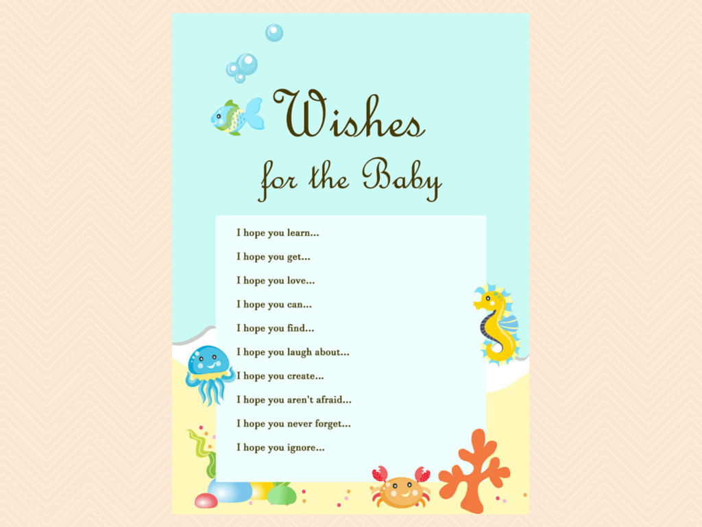 wishes for the baby card beach sea under the sea baby shower game