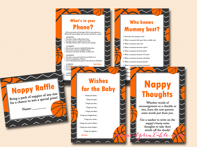 Basketball Baby Shower Game Set