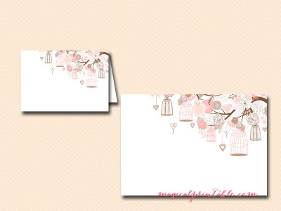 bird nest wedding place cards, name tags, printable food labels, tent style labels
