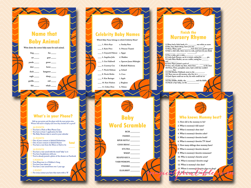 blue and yellow basketball baby shower game pack instant download