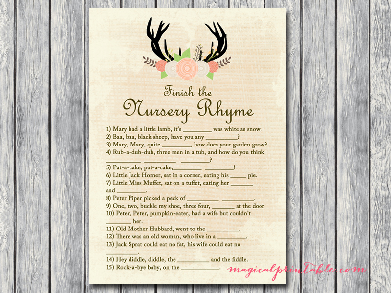 What's In Your Bag Bridal Shower Game Rustic Antlers B...