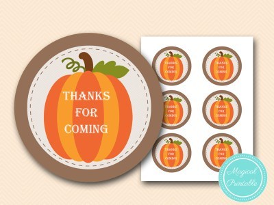 little pumpkin faovr tags, baby shower thank you tags