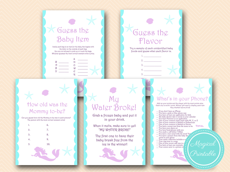 mermaid-baby-shower-game-pack-beach-baby-shower-nautical-games Beach Theme Baby Shower Games