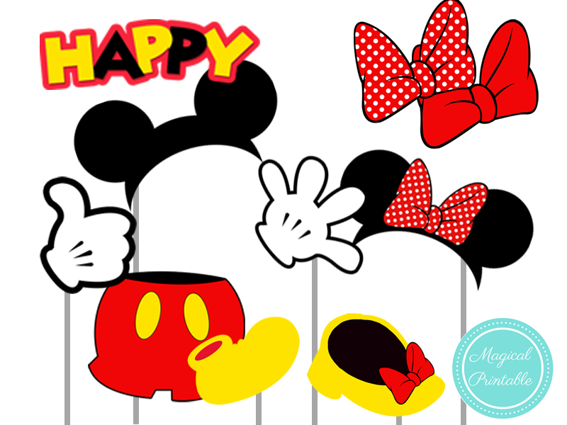 mickey mouse and minnie mouse red photo booth props