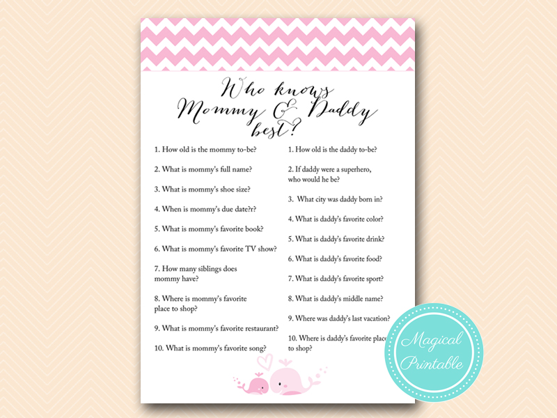 Pink Whale Baby Shower Games Magical Printable