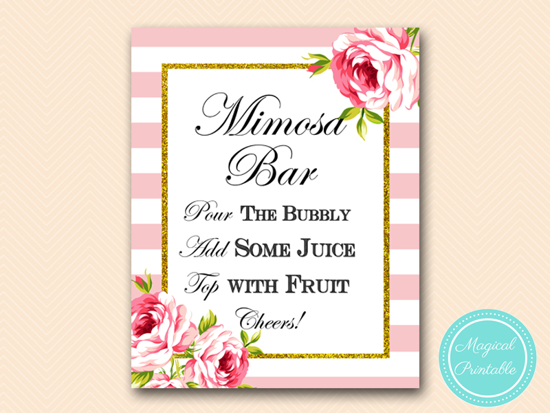 This is a graphic of Shocking Mimosa Bar Sign Printable
