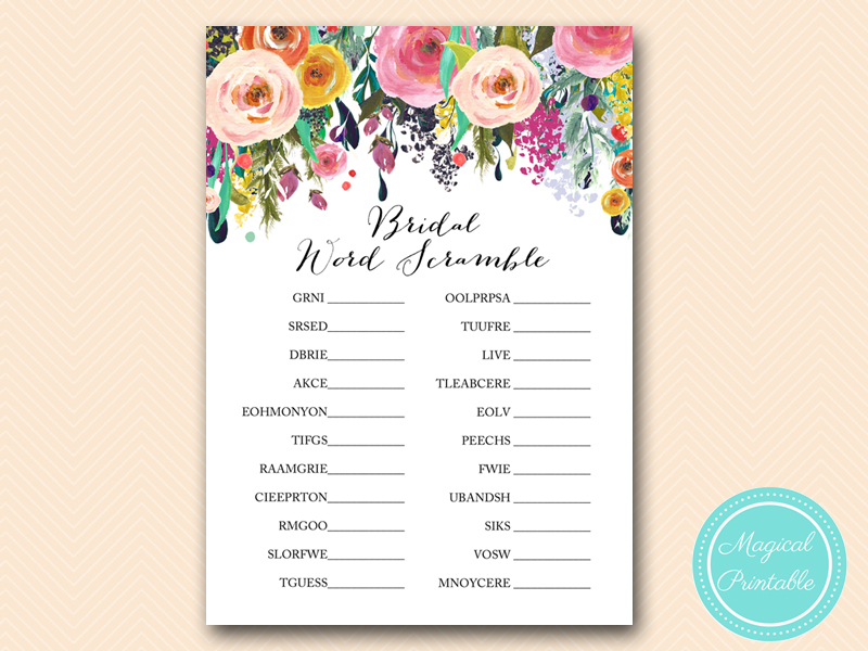 Floral Shabby Chic Garden Bridal Shower Games - Magical Printable