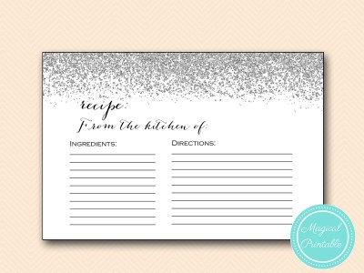 recipe card silver confetti bridal shower