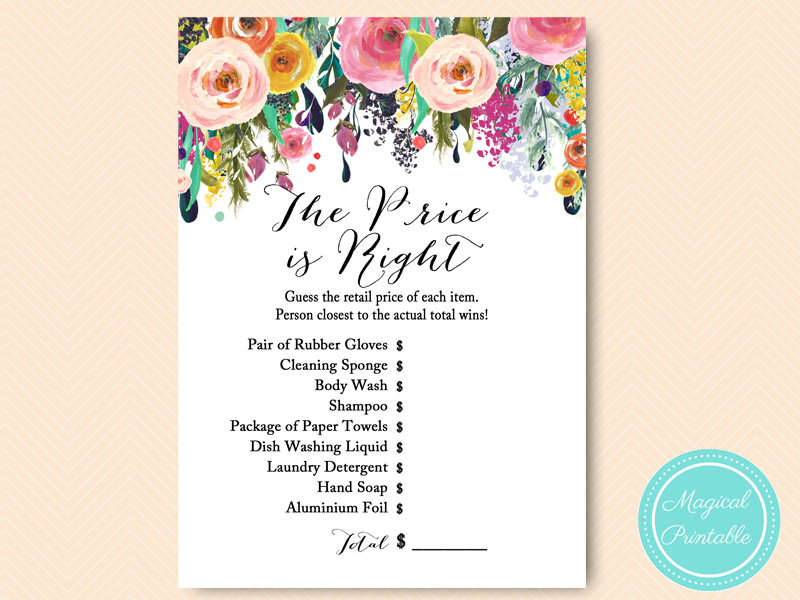 Floral shabby chic garden bridal shower games magical for Price is right bridal shower game template