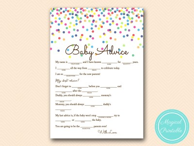 baby advice mad libs sprinkle baby shower