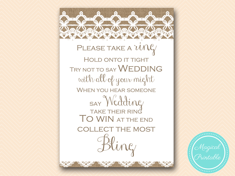 Burlap and lace bridal shower games magical printable dont say wedding ring rustic burlap lace bridal filmwisefo Gallery