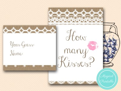 how-many-kisses-sign-rustic-burlap-lace-bridal-shower-game-shabby-bs173