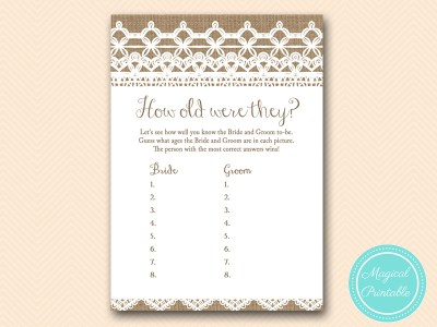 how-old-were-they-rustic-burlap-lace-bridal-shower-game-shabby-bs173