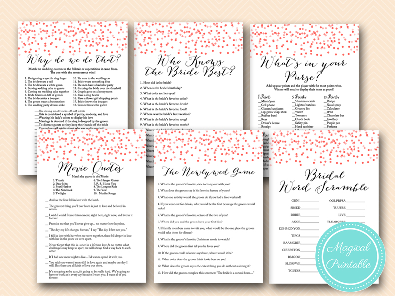 Red Confetti Bridal Shower Games Activities Printable Download