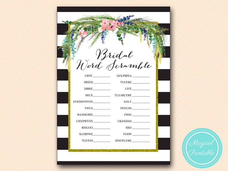 Luau Gold Black Bridal Shower Games Pack Magical Printable