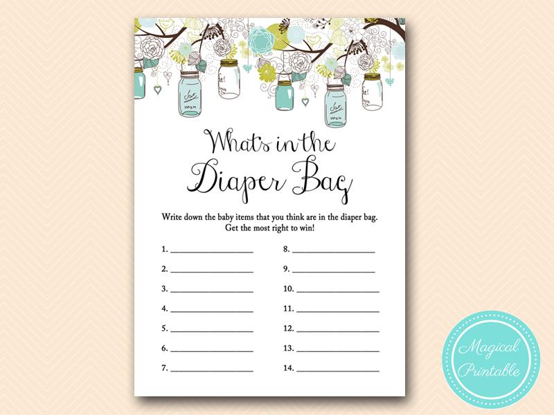 Whats In Diaper Bag Teal Mason Jar Baby