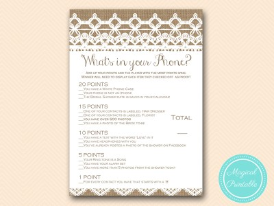 whats-in-your-phone-rustic-burlap-lace-bridal-shower-game-shabby-bs173