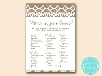 whats-in-your-purse-rustic-burlap-lace-bridal-shower-game-shabby-bs173