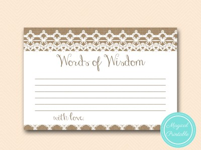 words-of-wisdom-cards-rustic-burlap-lace-bridal-shower-game-shabby-bs173