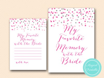 BS179-favorite-memory-with-bride-card-Pink-silver-confetti-bridal-shower-games